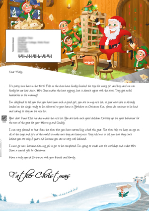 Santa in his mail room - Personalised Santa Letter Background