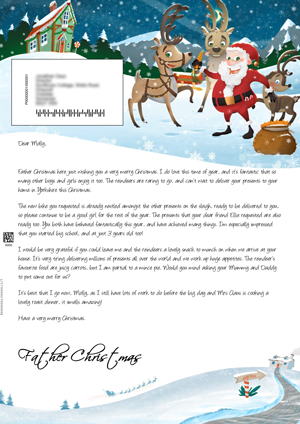 Santa outside with the reindeers - Personalised Santa Letter Background