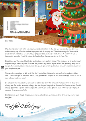 Santa in the house delivering presents - Personalised Santa Letter Background