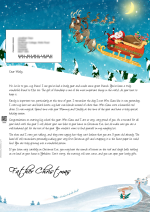 Santa flying in his sleigh - Personalised Santa Letter Background