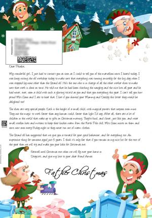 Elves playing and building - Personalised Santa Letter Background
