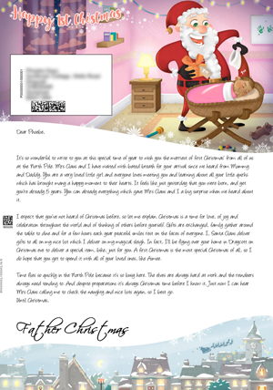 1st Christmas Cot Pink - Personalised Santa Letter Background