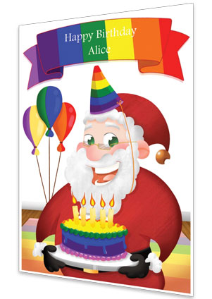 Rainbow Personalised Birthday Card From Santa
